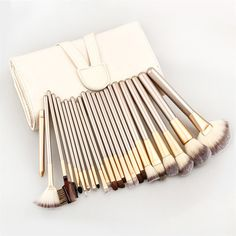 100% Brand New And High Quality! Quantity: 12 pcs Size: As The Picture Shows(Universal Size) Handle Material: Wood Brush Material: Fiber Color: Champagne Package Included: 12 piece Feature: Grasping P