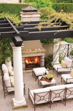 Outdoor living, pergola, outdoor fireplace, outdoor furniture, dream home Outside Living, Outdoor Living Areas, Outdoor Rooms, Outdoor Decor, Outdoor Dining, Outdoor Stone, Outdoor Patios, Outdoor Retreat, Patio Furniture Outdoor