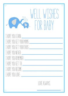Blue Elephant Baby Shower Printable Well Wishes by PureDigitals, $8.00