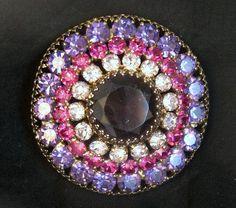 HUGE Signed Weiss Purple Rhinestone Dome Brooch