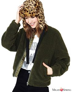 The green Fashion Zipper Fleece Jacket