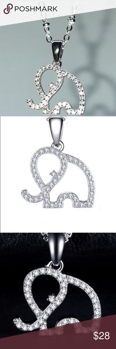 """925 VVS CZ Elephant Necklace 925 VVS CZ Elephant Necklace 20"""" Chain Jewelry Necklaces"""