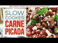 Carne Picada slow cooked to melt-in-your-mouth perfection is used in a variety of recipes making easy weeknight dinners the whole family will love! Serve this slow cooker carne picada beef in tacos and burritos or over rice. Low Carb Recipes, Beef Recipes, Cooking Recipes, Crock Pot Cooking, Crockpot Meals, Mexican Dishes, Mexican Food Recipes, Carne Picada Recipes