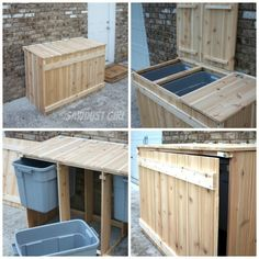 DIY Recycling Sorter - by Sawdust Girl Diy Outdoor Toys, Outdoor Toys For Kids, Outdoor Projects, Home Projects, Outdoor Toy Storage, Outdoor Ideas, Recycling Storage, Recycling Station, Recycling Center