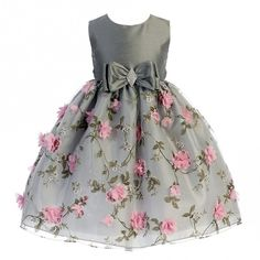 1d0ff4574bcc4 Crayon Kids Little Girls Silver Pink Flower Brooch Bow Christmas Dress 2-4T