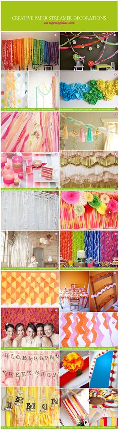 Party Decorations using paper streamers.  Collection from various blogs and sites created using paper streamers, garlands, flowers, tassels, runners, table weaving, photo booth backdrop, wedding backdrop, birthday backdrop.