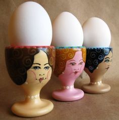 Painted Ladies Hand Painted Egg Cups - think of the fun you could have decorating the eggs with various hair styles.