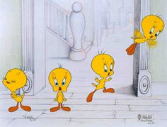 """Classic animator, Virgil Ross, who is best known for his distinctive style, character personality and fluid animation, recreates the true sense of animation in this multiple image hand-painted limited edition called """"Tweety's Great Escape"""" from the """"Sequential Series."""" This cel is based on newly created drawings of Tweety; one of Virgil's most cherished Looney Tunes characters."""