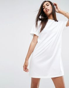 @ evatornado white T-Shirt Dress with Rolled Sleeves