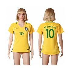Brasilien Trøje Dame 2016 #Neymar Jr 10 Hjemmebanetrøje Kort ærmer,208,58KR,shirtshopservice@gmail.com