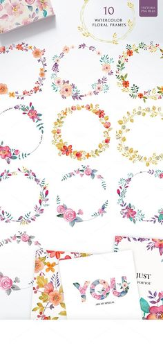 Floral set (vector& png files) by SoNice on Floral Collection. Set of cute retro flowers and floral typography. It can be used for design of greeting cards, posters, fabric, notebooks and so on. Perfect for wedding invitations and birthday cards. Art Watercolor, Watercolor Flowers, Wreath Drawing, Painting & Drawing, Corona Floral, Caran D'ache, Creation Deco, Retro Flowers, Floral Illustrations