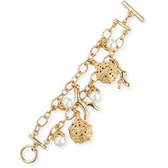 Oscar De La Renta Urchin Simulated Pearl Charm Bracelet (380 CAD) ❤ liked on Polyvore featuring jewelry, bracelets, gold, jewelry bracelets, beading charms, beaded bangles, bead jewellery, carved jewelry and bead charms