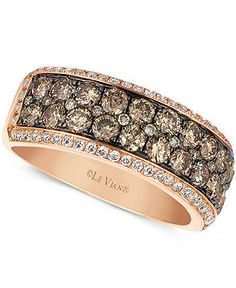 Le Vian 14k Rose Gold Ring, Chocolate and White Diamond 2-row Band (1-1/2 ct. t.w.) - Rings - Jewelry & Watches - Macy's