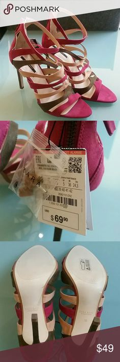 Zara high heel strappy sandal US 7.5 EU 38 New with tag attached ZARA strappy pink beige olive heels sandals. Retail: $69.90. Slipsole is genuine leather. Uppers are a suede like material. Absolutely gorgeous stiletto heels! Still has the clear protective plastic on the bottom of the heels. Zara Shoes Heels