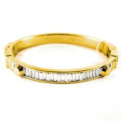 Michael Kors Yellow Goldtone Clear Baguette Astor Bangle, Brilliance, #GSJ Michael Kors Jewelry, Bangles, Bracelets, Gold, Baguette, Yellow, Bracelet, Cuff Bracelets, Arm Bracelets
