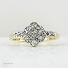 Diamond Engagement Ring, Art Deco Diamond Cluster Ring with Milgrain Beading in 18 Carat & Platinum, Circa 1930s. by Addy on Etsy https://www.etsy.com/listing/225793157/diamond-engagement-ring-art-deco-diamond
