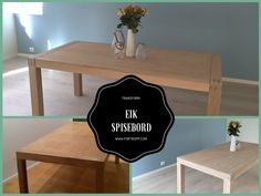 Hvitoljet eik bord / table transformation white oiled oak fortropp