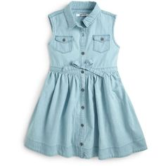 DKNY Kids Toddler's & Little Girl's Tilly Denim Bow Dress ($27) ❤ liked on Polyvore featuring baby, kids, baby clothes, dresses and baby girl