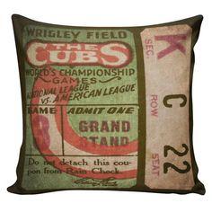 Baseball Pillow Chicago Cubs Wrigley Field Burlap Cotton Throw