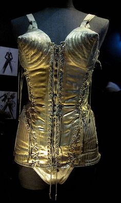 Cone corset made from 1930's gold lame, designed for Madonna by Jean Paul Gaultier