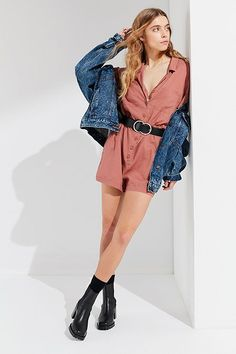 UO Out + About Brown Linen Shirt Playsuit