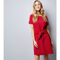 New Look Red Tie Waist Short Sleeve A-Line Dress (€29) ❤ liked on Polyvore featuring dresses, red, a line dress, red a line dress, short-sleeve dresses, red holiday dress and short sleeve cocktail dresses