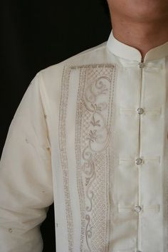 barong tagalog under suit jacket? Barong Wedding, Filipiniana Wedding, Wedding Wear, Wedding Gowns, Latifa, Barong Tagalog, Mothers Friend, Tribal Costume, Wedding Preparation