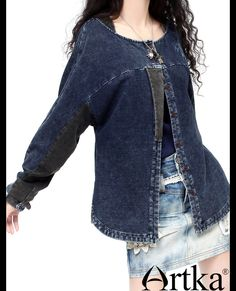 Special 288 Acre lazy to do the old hand embroidery loose autumn new knit denim jacket WN14433Q-tmall.com day cat