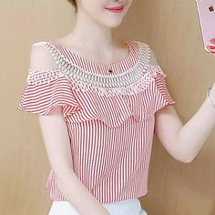 New hollow out off shoulder Cropped Women Short Sleeve striped cold shoulder layered Blouse Casual ruffle blouses Tops Blouse Styles, Blouse Designs, Cute Skirt Outfits, Suspender Dress, Dresses With Leggings, Ruffle Blouse, Casual, Clothes, Cold Shoulder