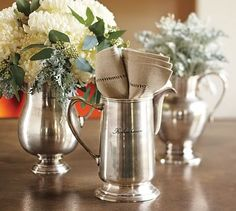 Antique-Silver Pitchers #potterybarn  I have wanted these for such a long time.  Love them!
