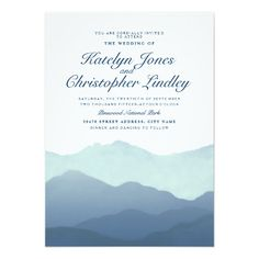 Mountain Wedding Invitation | Watercolor | Royal Blue Turquoise ...