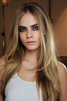 Cara Delevingne hair blonde with darker features