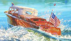 classic boat art by darrell bush