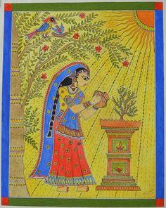 This item is unavailable Madhubani Art, Madhubani Painting, Mandala Painting, Kalamkari Painting, Mandala Art Lesson, Indian Folk Art, Indian Art Paintings, Krishna Art, Hindu Art
