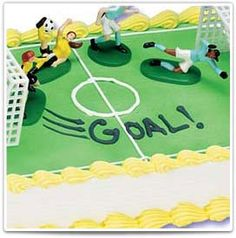 Girls Soccer:  Personalize this cake for a birthday or team party!  #bakery #birthday #cake #kids