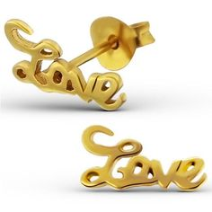 Solid 925 Sterling Silver 14K Gold Plated Love Earrings