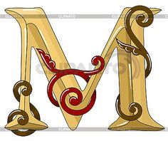 Ornamental medieval initial letter M | Stock Vector Graphics | CLIPARTO