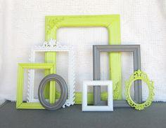 Lime Green, Grey Gray White Ornate Chunky Vintage Frames Set of 7 - Upcycled Frames Modern  Bedroom Decor via Etsy