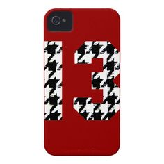 Houndstooth Lucky Number 13 iPhone 4 Case-Mate Cases