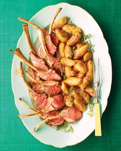 "A sweet-tart sauce of orange, oregano, and parsley complements tender lamb chops. The process of removing the meat and fat from the bones is known as ""frenching,"" and makes for an elegant presentation on the holiday table."