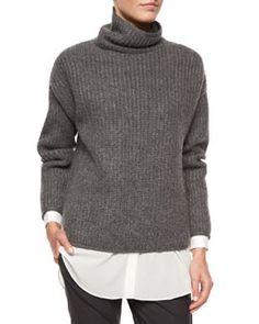 W06Q2 Brunello Cucinelli Oversized Cashmere English Rib Knit Sweater
