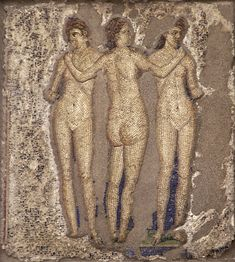 Three Graces.  Mosaic from Pompeii (House of Apollo, VI, 7, 23, inside wall of the garden).