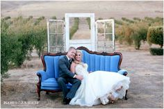 """Kelly + Jake- Portrait in the olive groves at The Purple Orchid Hotel & Spa. """"Mrs. Hughes"""" french provincial-style, sofa paired up with vintage doors for a romantic wedding portrait by Kori and Jared Photography : http://www.koriandjaredblog.com/2015/09/28/jake-kelly-purple-orchid-inn-spa-livermore-ca-2/"""