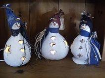 Light up Gourd Snowman - GOURD CRAFTS