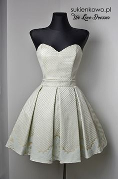 Żakardowa sukienka gorsetowa Bella miętowo/beżowa