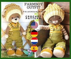 Clothes toy crochet pattern PDF Outfit for Bunny Cat Dog Toys - Outfit Farmboys Crochet Cat Toys, Crochet Toys Patterns, Crochet Gifts, Stuffed Toys Patterns, Knitting Patterns, Free Crochet, Hugs, Pattern Floral, Knitted Bunnies
