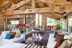 Love the open-concept living space in this chalet via @Pursuitist Luxury