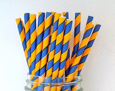 Golden State Warriors Blue and Golden Yellow Striped Straws (Pack of Paper Straws) **Weddings, Parties, Showers, Gifts** Ben 10 Birthday, Birthday Bash, Birthday Ideas, Basketball Birthday Parties, 4th Birthday Parties, Golden State Warriors, Candy Corner Ideas, Stephen Curry Birthday, Party Themes