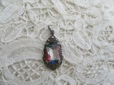 Rainbow glass pendant real silver 1930's by Nkempantiques on Etsy