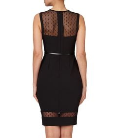 Black belted mesh dress Sale - MICHELLE KEEGAN